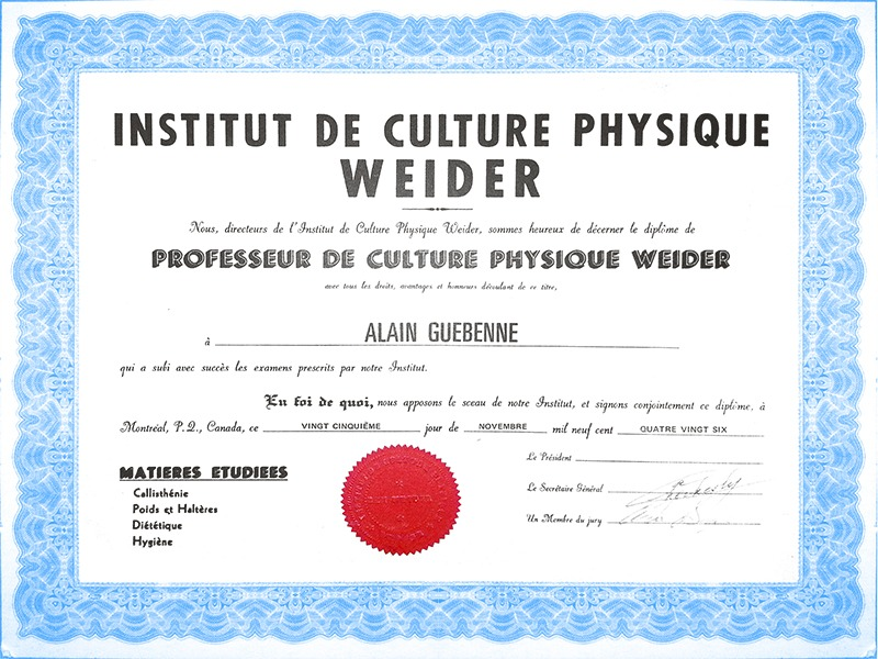 Certification Weider